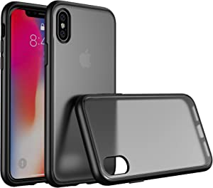 YOUNIKE Shockproof iPhone X Case/iPhone Xs Case with Translucent Matte Cover Anti-Drop Protection, Soft Edges Case-Matte Black