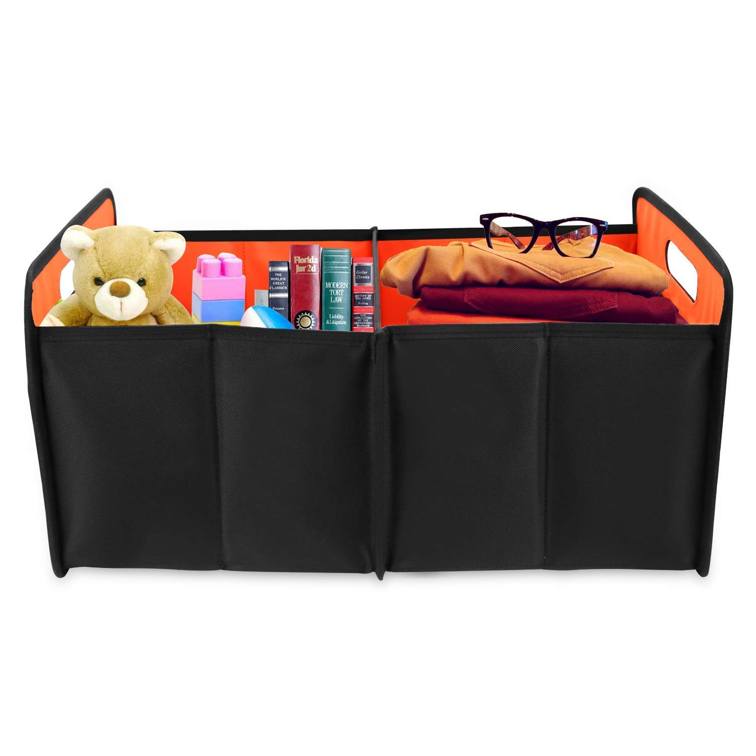 Collapsible Foldable Auto Trunk Organizer Storage Bin Cubes Black Truck Vehicle Portable Grocery Cargo Container for SUV Home and Office AsFrost Car Trunk Organizer Basket