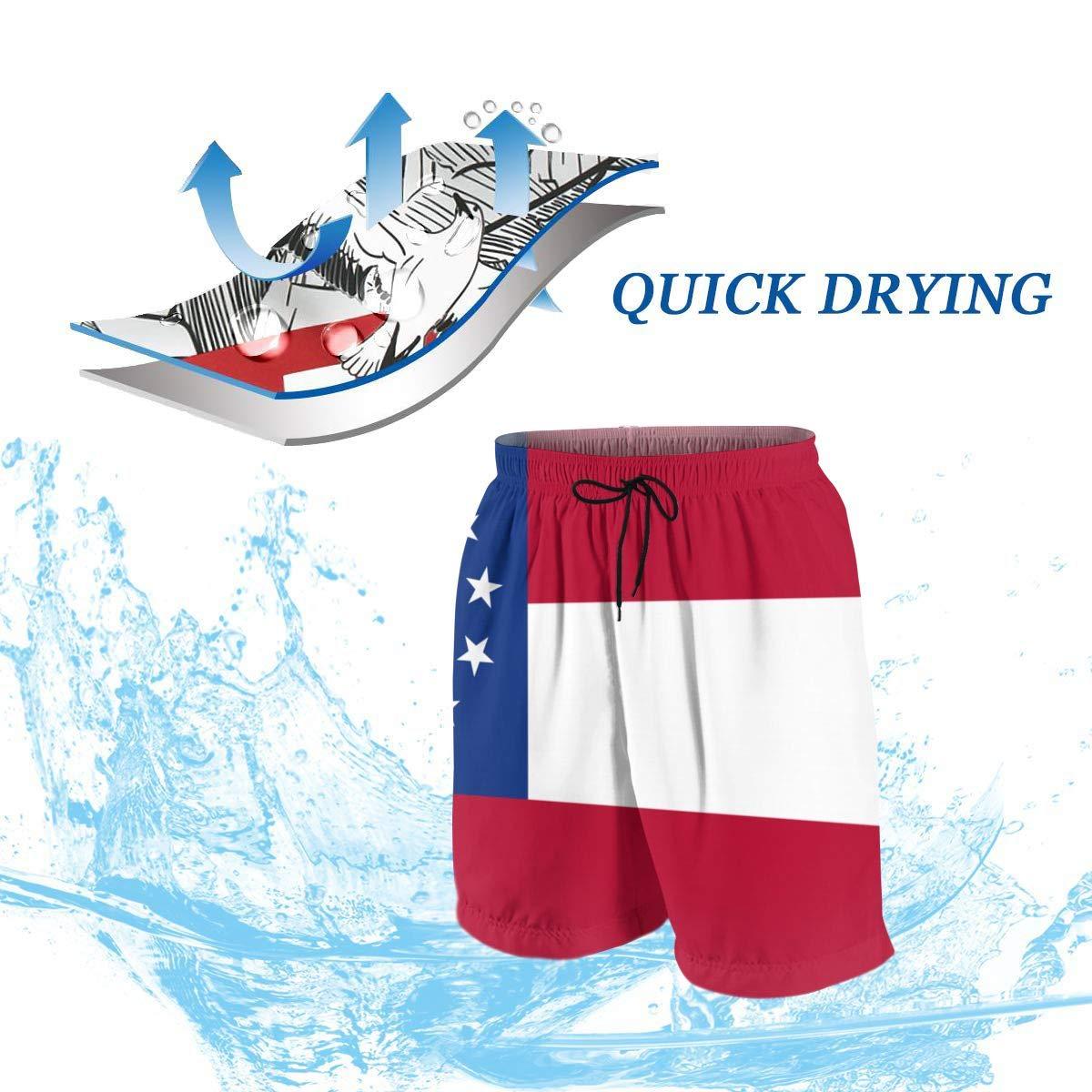 Flag of Georgia State Teenagers Running Swim Board Shorts
