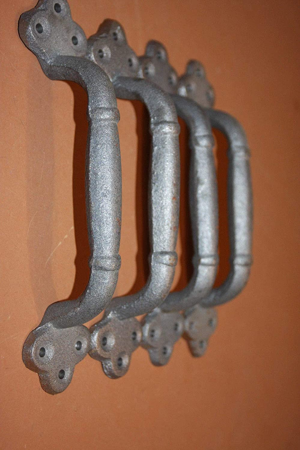 Large Decorative Gate Pulls Handles 9 inches Long Unfinished Cast Iron Set of 4 HW-11 8 1//8 inch Center