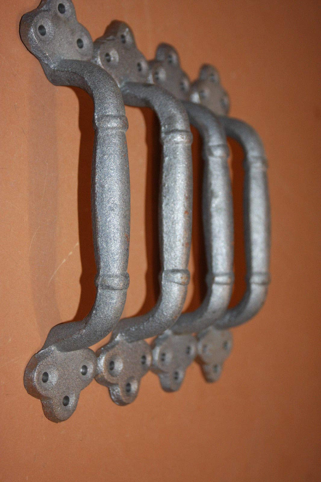 Large Decorative Gate Pulls Handles 9 inches Long Unfinished Cast Iron, 8 1/8 inch Center, Set of 4 HW-11