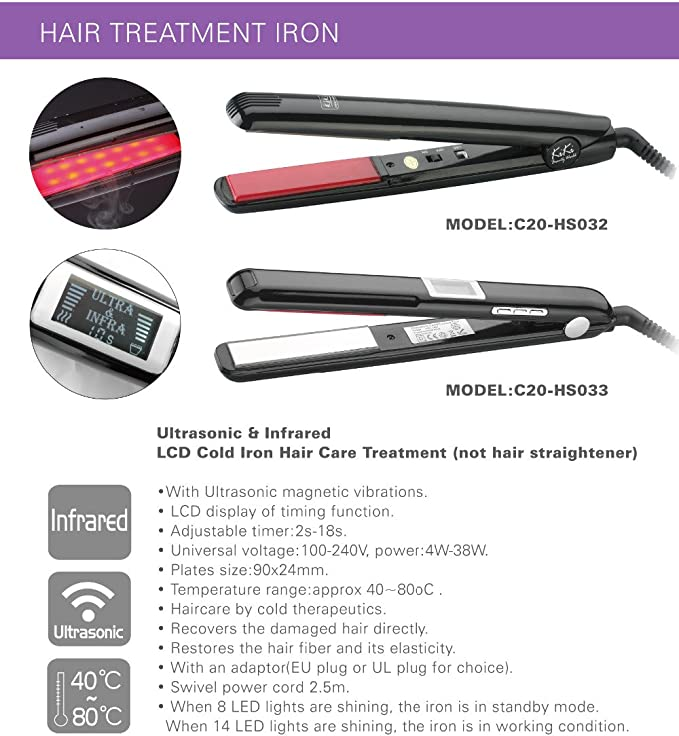 OG EVKIN LCD Ultrasonic & Infrared Hair Care Tool, Cold Hair