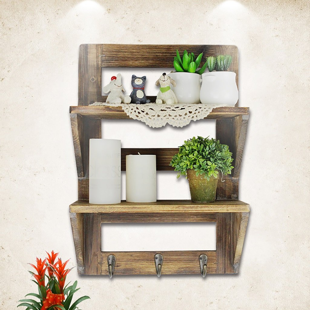 BGCG Vintage Solid Wood Balcony Hanging Cabinets, American Restaurant Kitchen Closet, 2 Simple Wall Racks, Storage Cabinets Storage cabinets