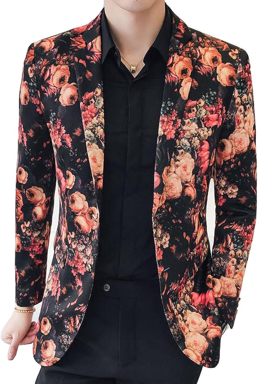 OUYE Men's Luxury Floral 2 Button Sport Coat