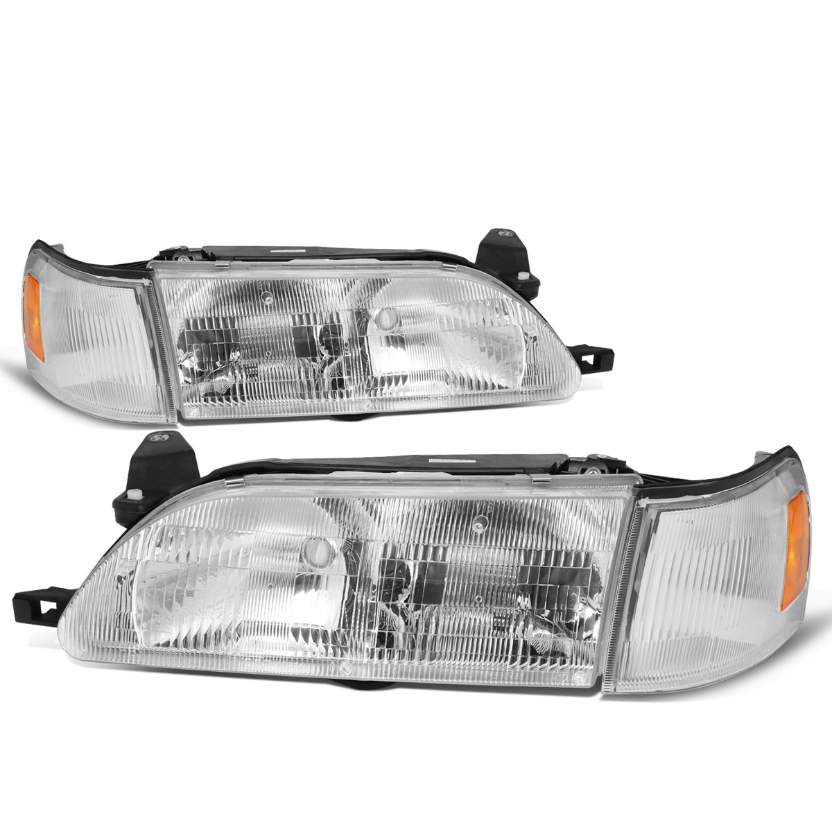 For 93-97 Corolla DNA Motoring HL-OH-095-CH-AM Pair Chrome//Amber Headlight//Lamps