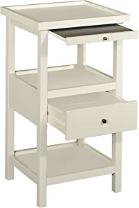 Powell Furniture Palmer White Shelf Side Table, Small