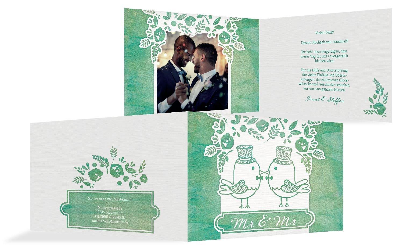 Hochzeit Dankeskarte Vogelpaar- Männer, 30 Karten, MattBlau B07B6R52VS   Haltbarkeit    Ausgezeichnete Leistung    Niedrige Kosten