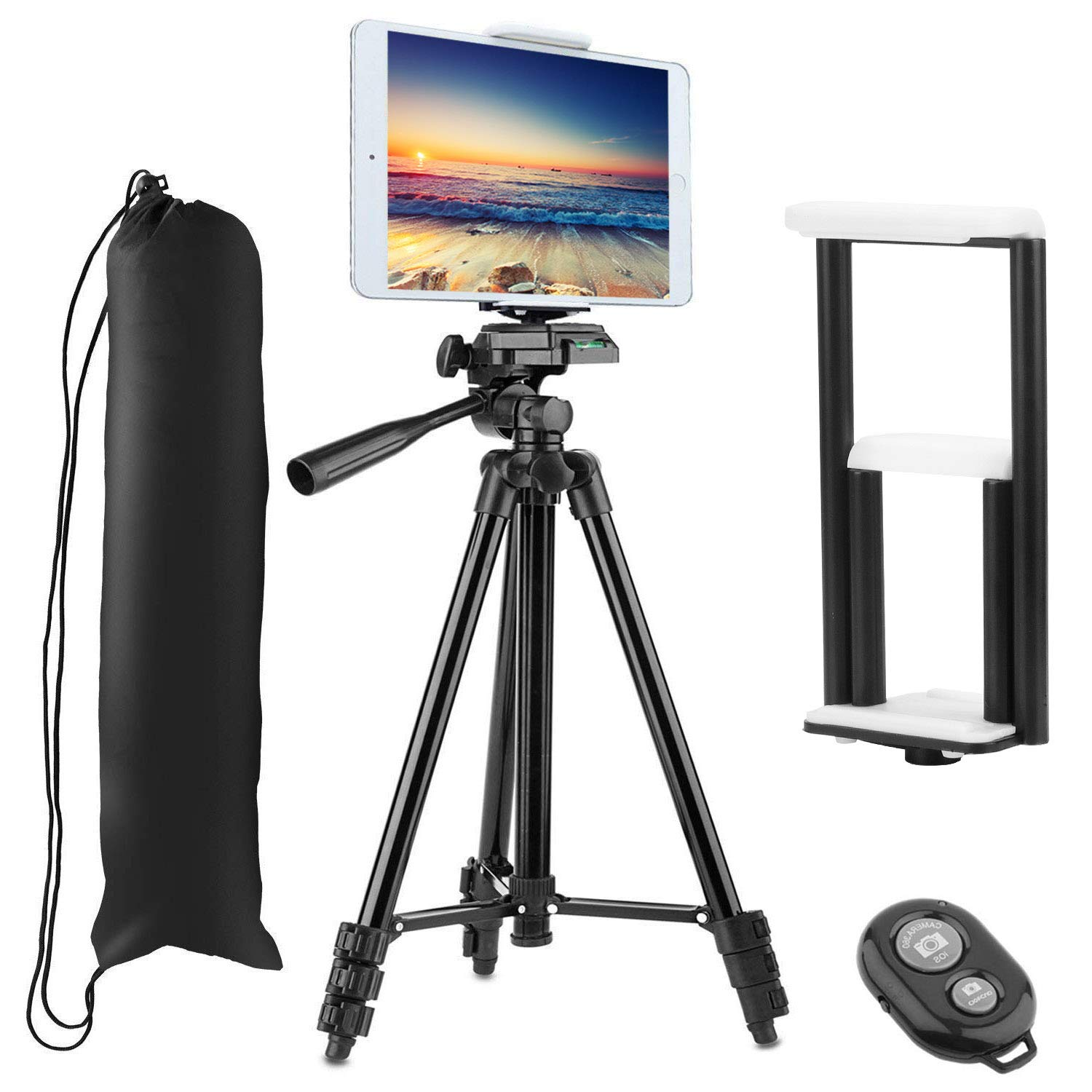 PEYOU Compatible for iPad iPhone Tripod, 50'' Lightweight Aluminum Phone Camera Tablet Tripod + Wireless Remote + Universal 2 in 1 Mount Holder for Smartphone (Width 2.2-3.3''),Tablet (Width 4.3-7.3'') by Peyou