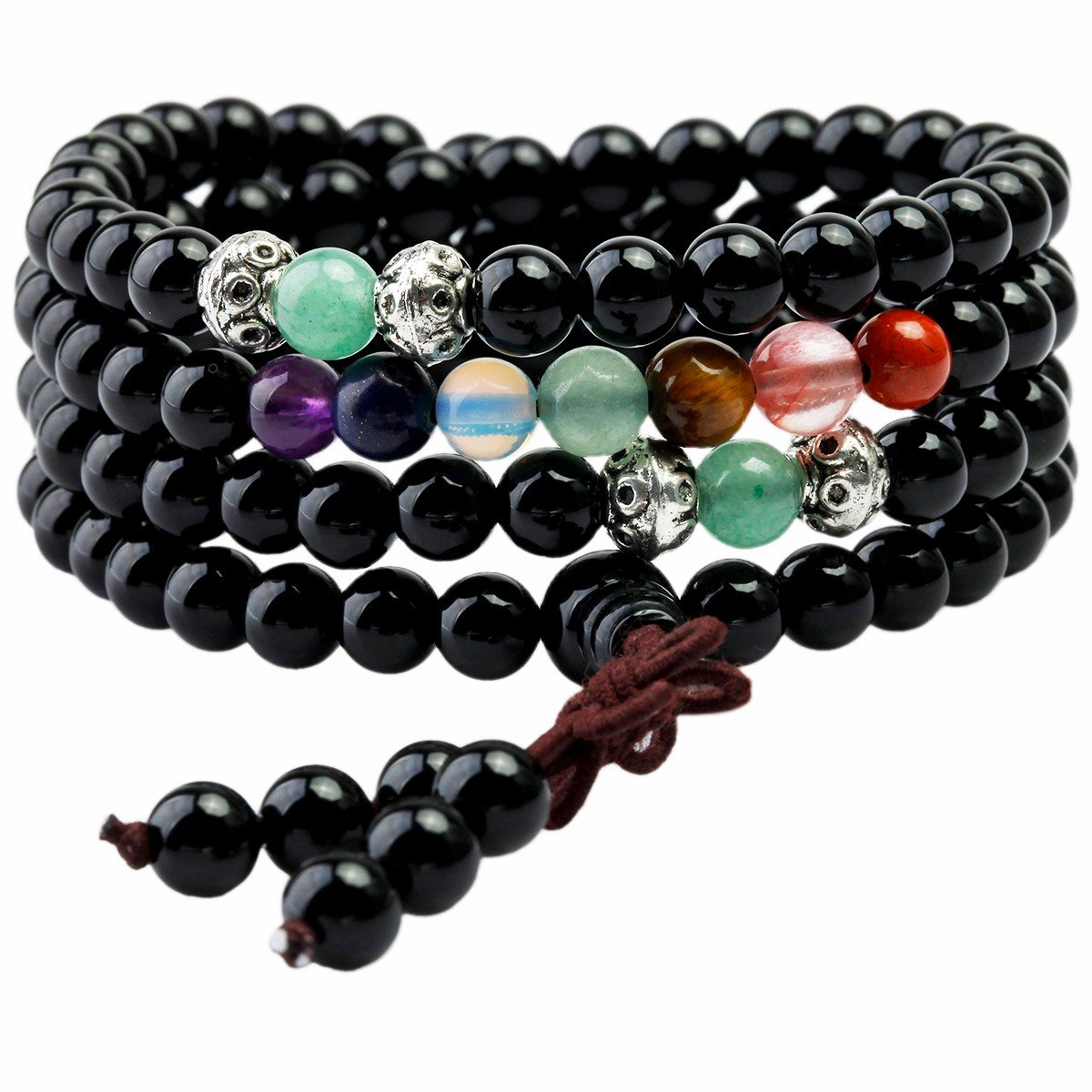 TUMBEELLUWA Beaded Bracelet Multilayer Yoga Meditation Mala Beads with Alloy Charms Lava Rock