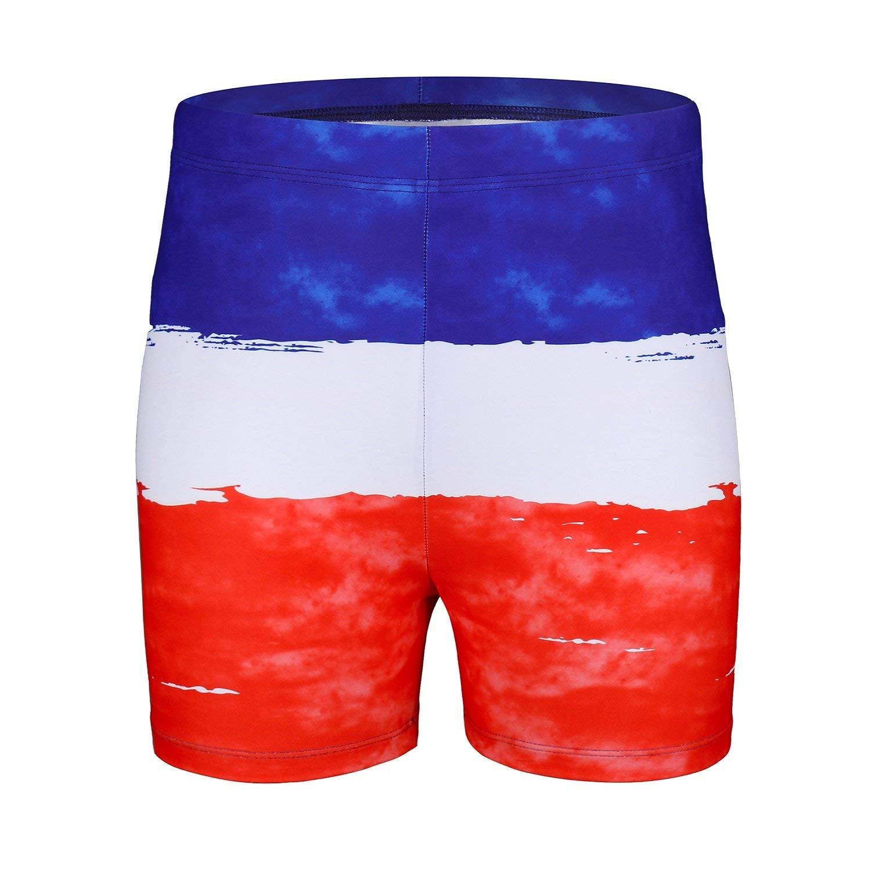 Baleaf Boys Athletic Training Swim Jammer Square Leg Swimsuit Swimwear Polyester with Drawstring,Swim Shorts,Swim Briefs Blue/White/Red S