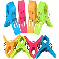 Beach Towel Pegs Pack of 8 - Large Bright Colour - Plastic Clips for Sunbed - By TRIXES
