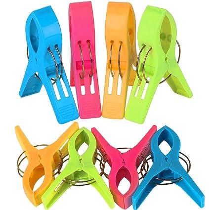 TRIXES Pack de 8 Grandes Playa Toalla Clips - Brillante Color - Plástico - Pinzas /