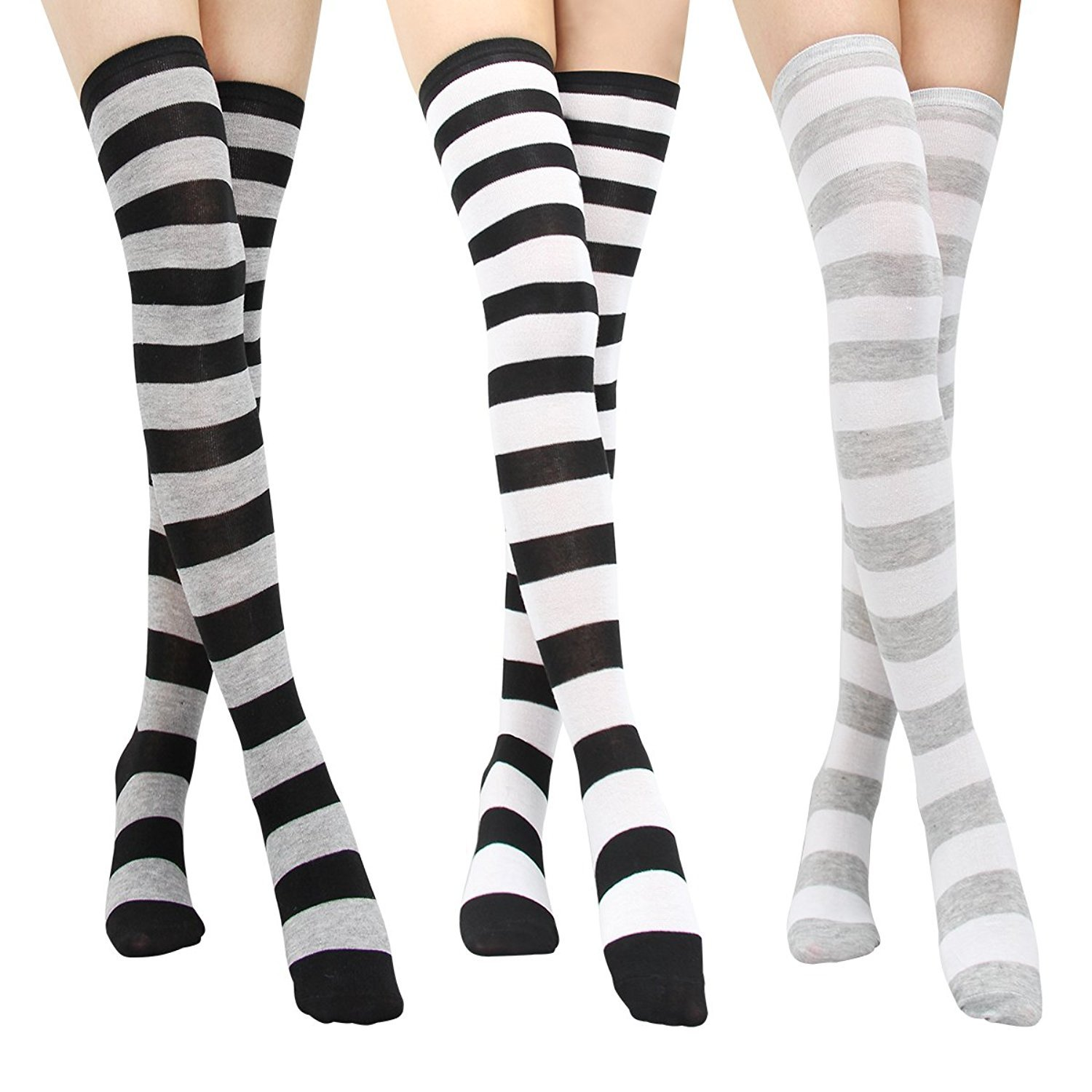 c3120cdaac5ec Beautyer Long Striped Thigh High Socks 3 Pairs for Women Over Knee Stockings  at Amazon Women's Clothing store: