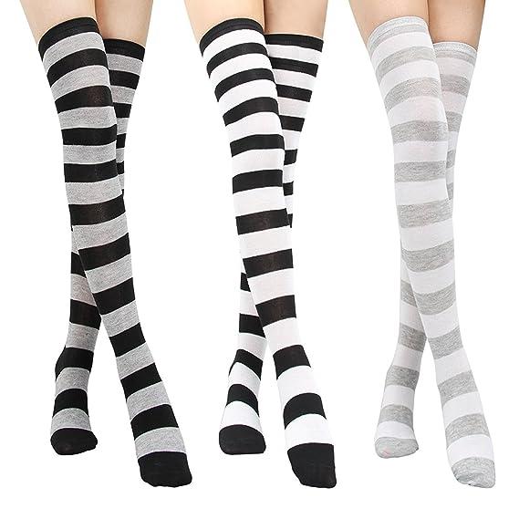 Pack of 3 Calcetines medias para las mujeres niñas - clásico raya sobre la rodilla calcetines