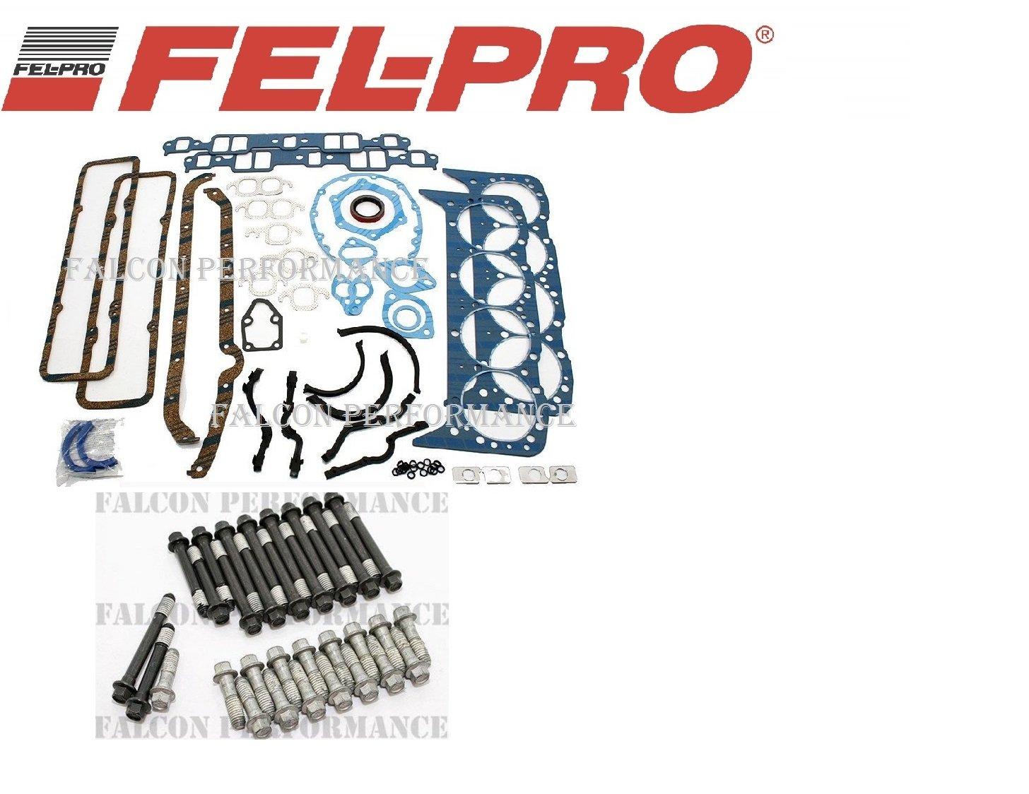 FEL-PRO Full Gasket Set+BOLTS for MERCRUISER CHEVY MARINE 327 350 5.7 w/2pc seal (Gskts & Bolts)
