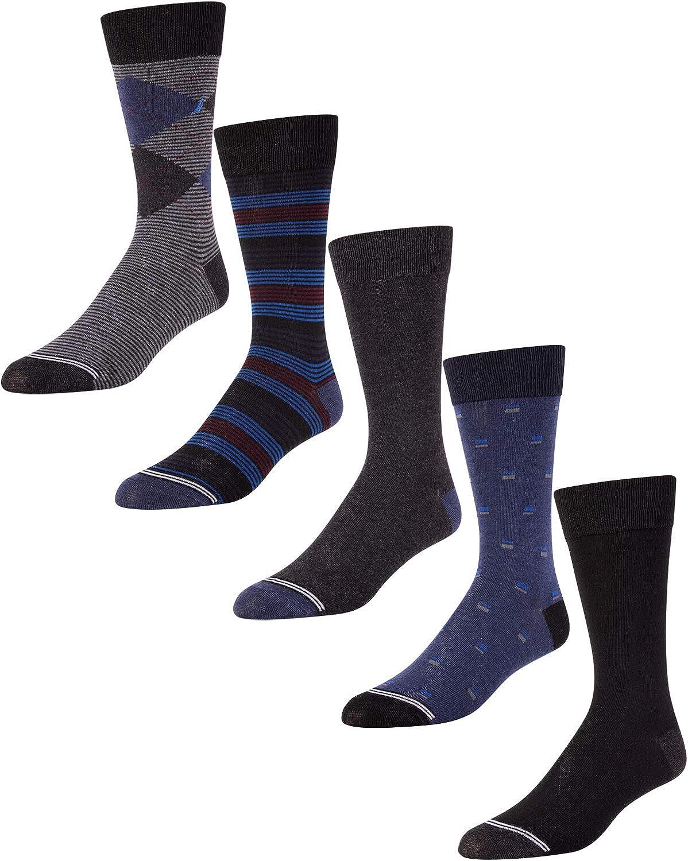 Nautica Men's Moisture Wicking Dress Socks with Stay Up Cuff (5 Pack)