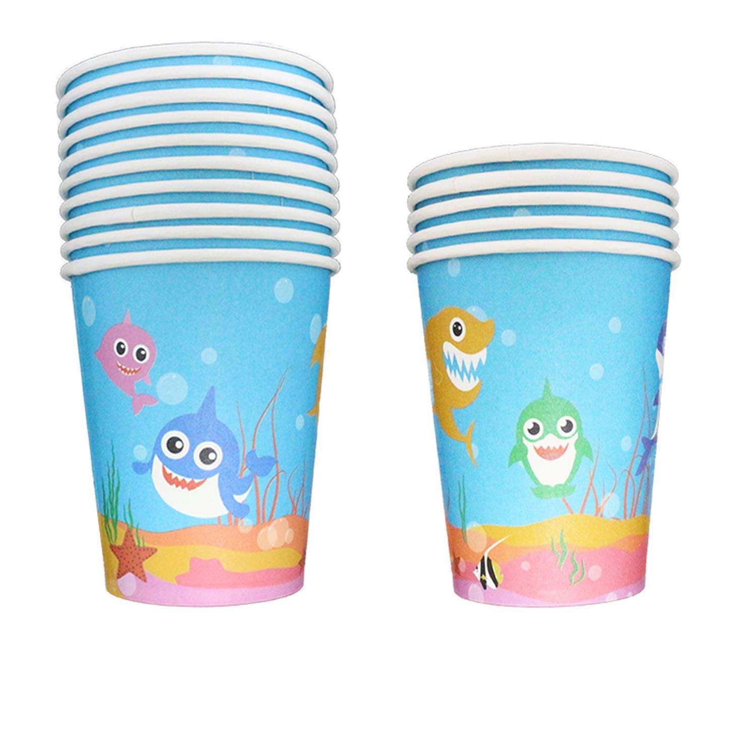 32 Pack Baby Cute Shark Cups Straws with Decoration for Birthday Party Supplies Disposable Paper 9oz Cup