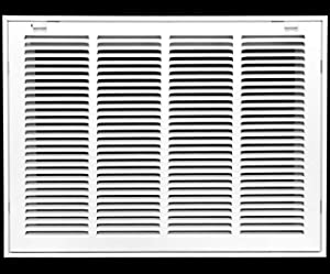 """20"""" X 10"""" Steel Return Air Filter Grille for 1"""" Filter - Removable Face/Door - HVAC Duct Cover - Flat Stamped Face -White [Outer Dimensions: 21.75w X 11.75h]"""