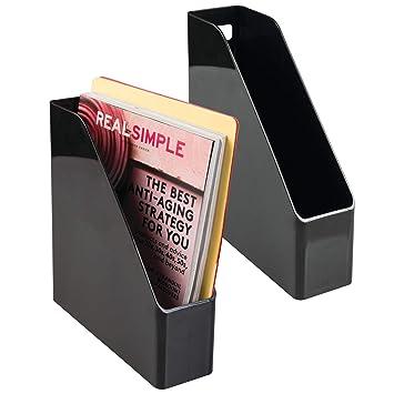 mDesign Plastic File Folder Bin Storage Organizer - Vertical with Handle - Holds Notebooks, Binders
