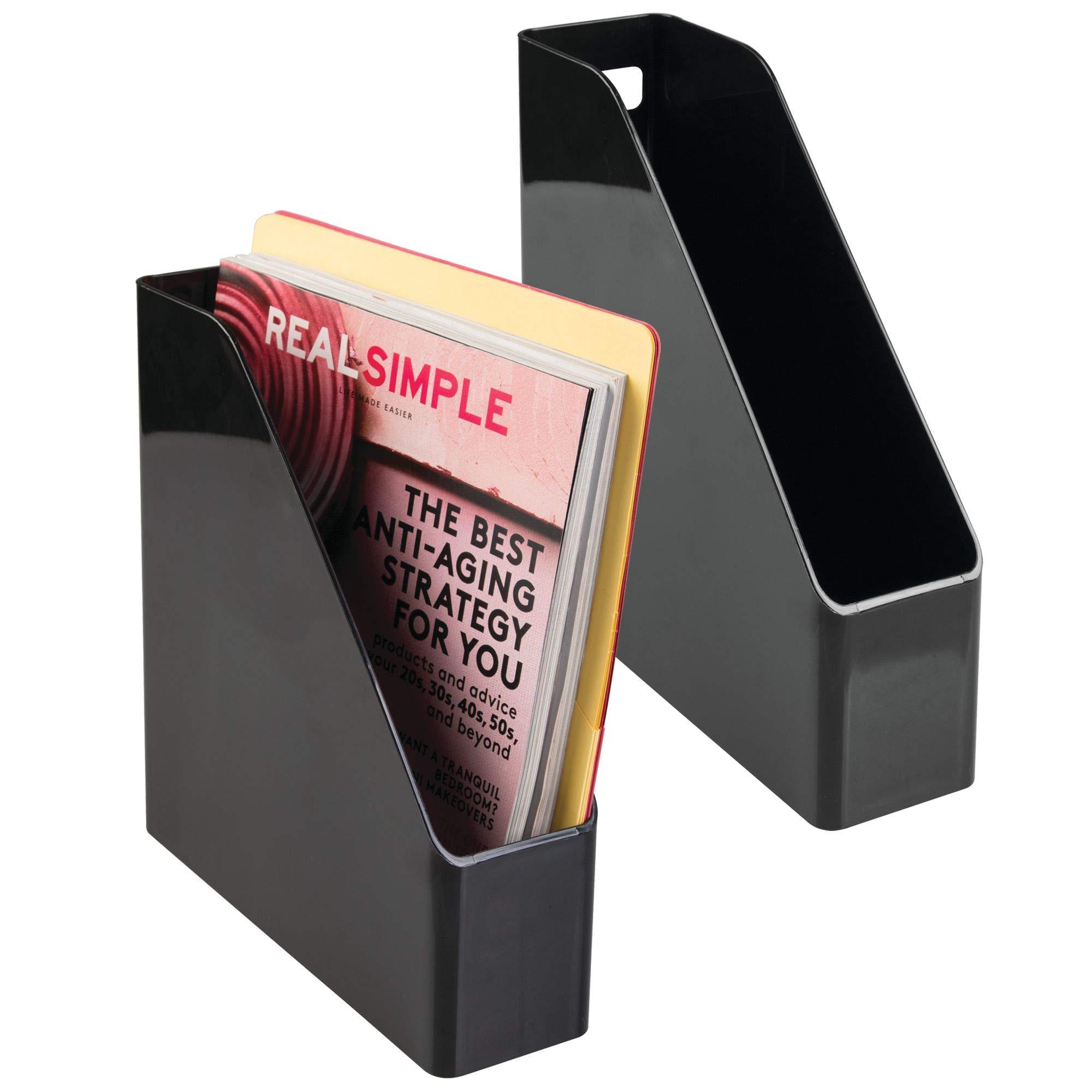 mDesign Plastic File Folder Holders Storage Organizer Set - Vertical with Handle - Holds Notebooks, Binders, Envelopes, Magazines - Home Office and Work Desktops, 2 Pack - Black