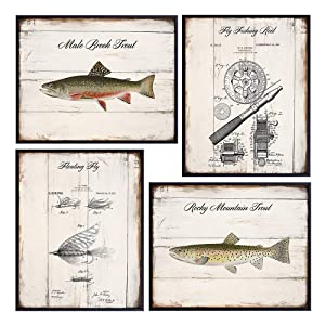 Trout and Fly Fishing Patent Wall Art - 8x10 Wood Sign Replica Photo Pictures - Rustic Shabby Chic Vintage Home Decor, Room Decoration for Beach or Lake House - Gift for Fisherman, Fishermen, Angler