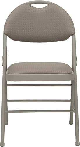 COSCO Commercial Comfort Back Fabric Folding Chair with Handle Hole, 4 pack
