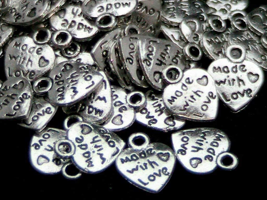 NiceButy 50 x Argento Tibetano Made with Love Cuore Ciondoli San Valentino Argento Antico Gioielli Perline Crafting Risultati Roba Interessante