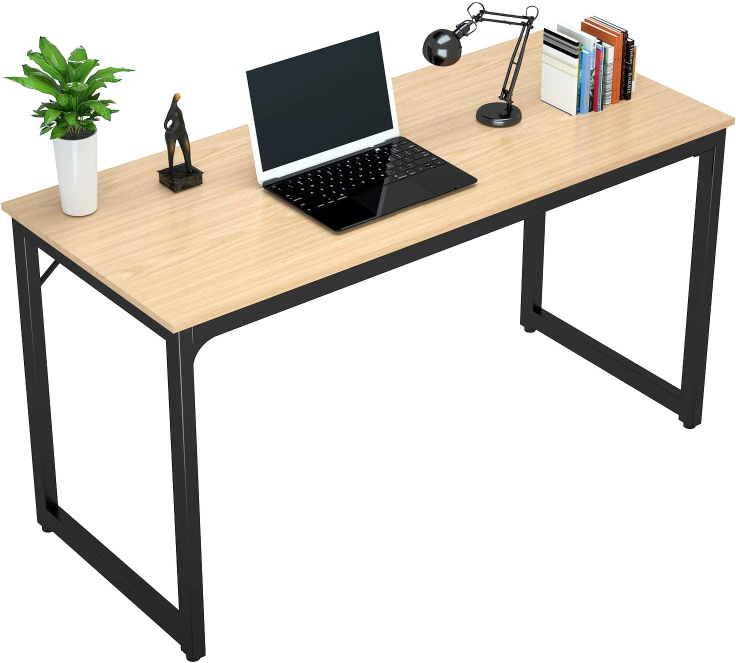 "Foxemart 47"" Computer Desk Modern Sturdy Office Desk PC Laptop Notebook Study Writing Table for Home Office Workstation, Natural"