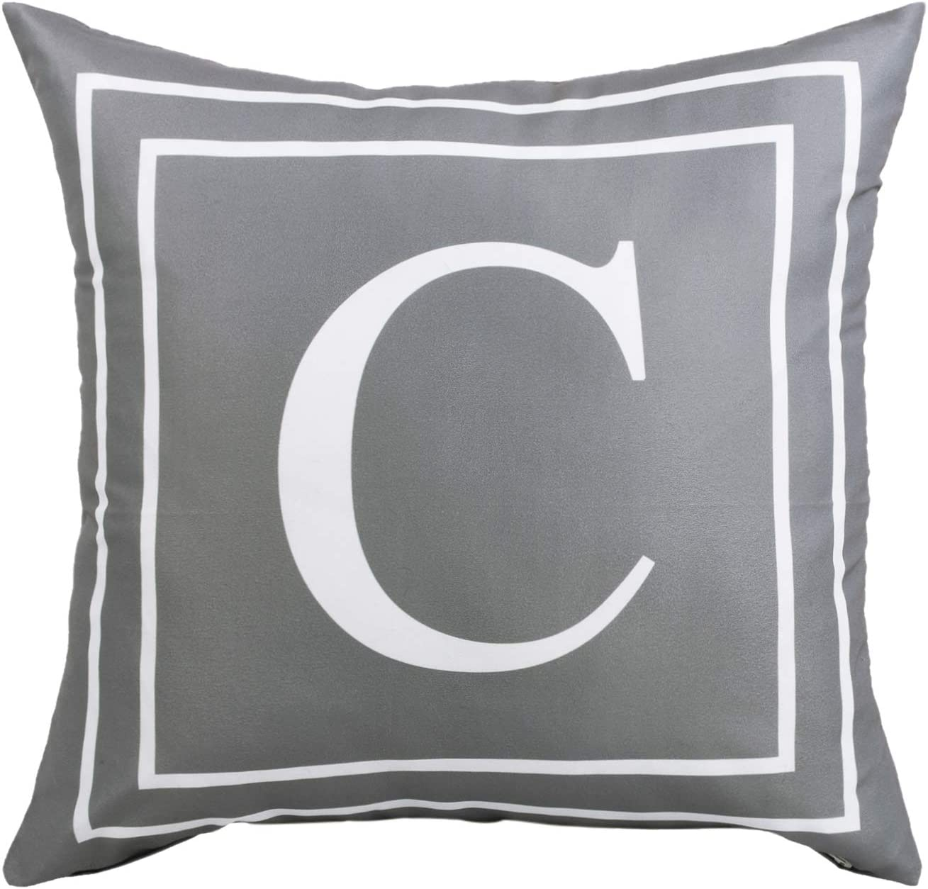 Fascidorm Gray Pillow Cover English Alphabet C Throw Pillow Case Modern Cushion Cover Square Pillowcase Decoration for Sofa Bed Chair Car 20 x 20 Inch