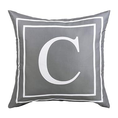 BLEUM CADE Gray Pillow Cover English Alphabet C Throw Pillow Case Modern Cushion Cover Square Pillowcase Decoration for Sofa Bed Chair Car 18 x 18 Inch