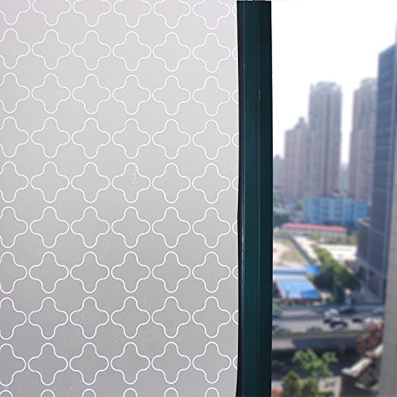 Decorative Privacy Windows Film Sticker Clover Pattern Window Cling Paper For Home and Office17.7x78.7-Inch by Coavas