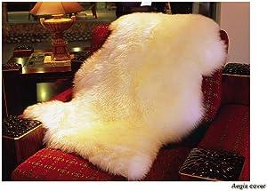 Aegis cover(TM Genuine Real Australian Single Pelt Large Sheepskin Rug(Real 2 ft+ x 3.5 ft)
