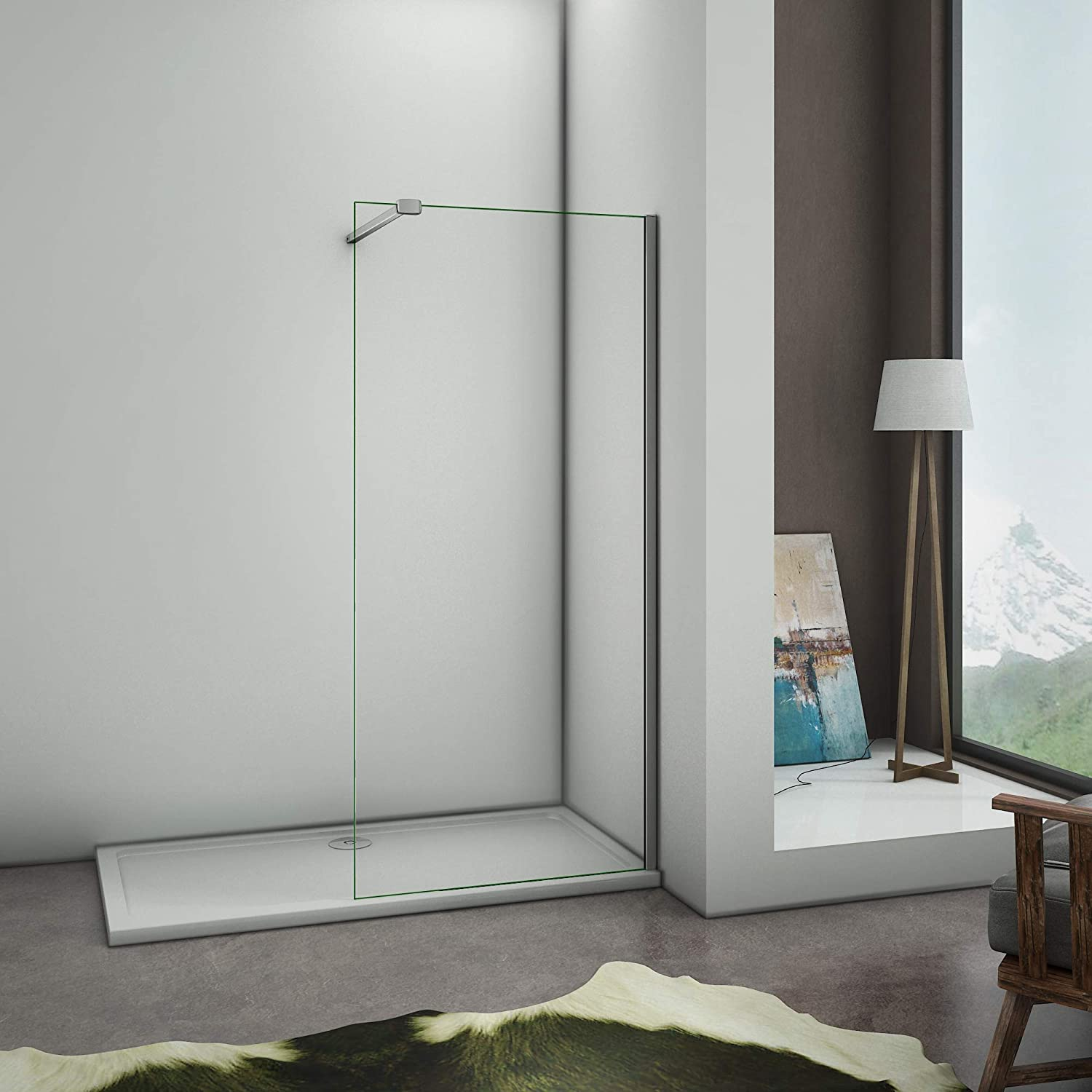 1100x1950mm Perfect 900 x 1950mm Wet Room Screen Panel Walkin Shower Enclosure Easyclean Glass with Support Bar