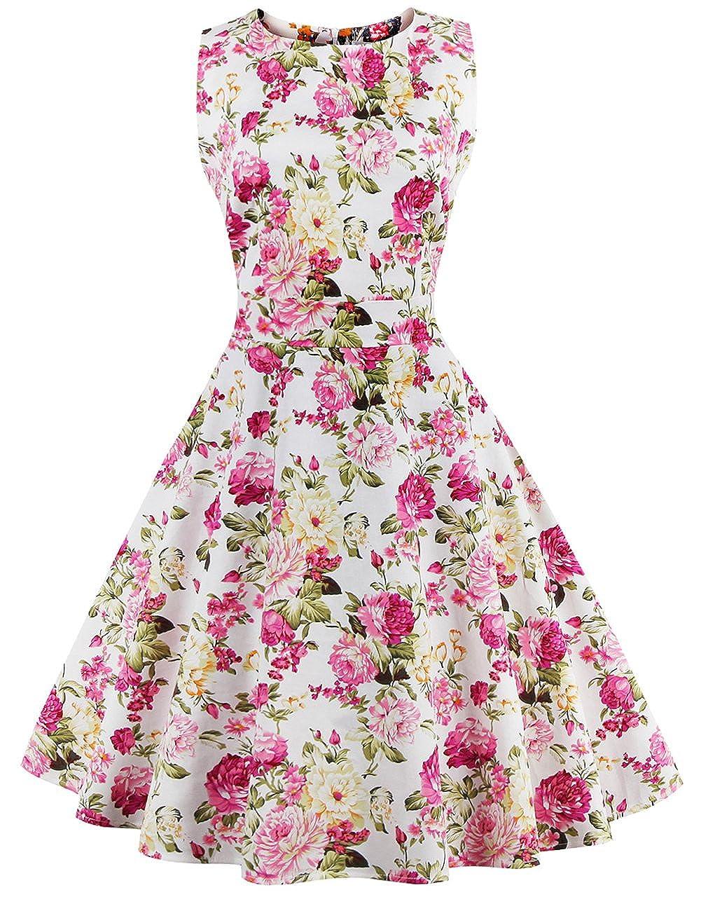 TALLA 4XL. FAIRY COUPLE 50s Vestido de Partido Floral Retro del Oscilación del Cóctel del Vintage con el Arco DRT017 Rosa Amarillo Floral 4XL