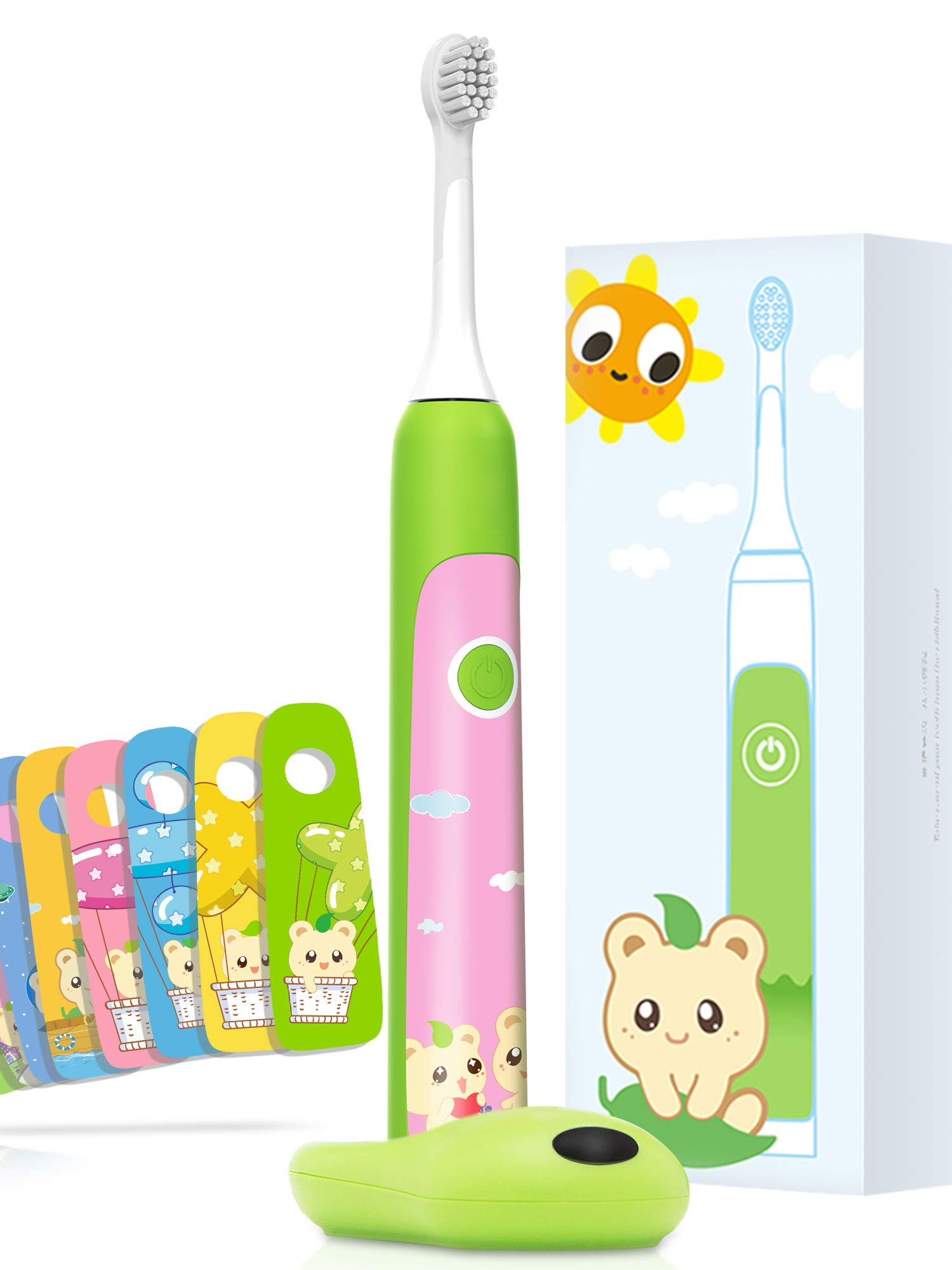Aiwejay Kids SONIC Electric Toothbrush Reachable For ages 3-12,8 Cute Stickers, 3 Vibration Modes,Green by Aiwejay