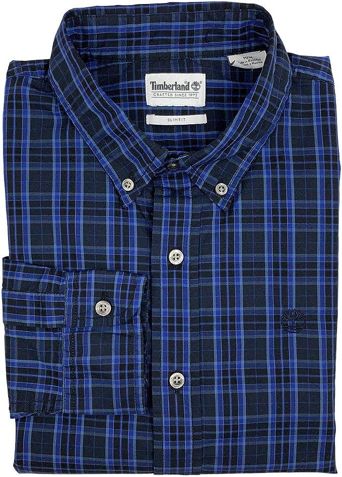 Timberland camisa de manga larga para hombre, ajustada, a cuadros, con botones - Azul - XX-Large: Amazon.es: Ropa y accesorios