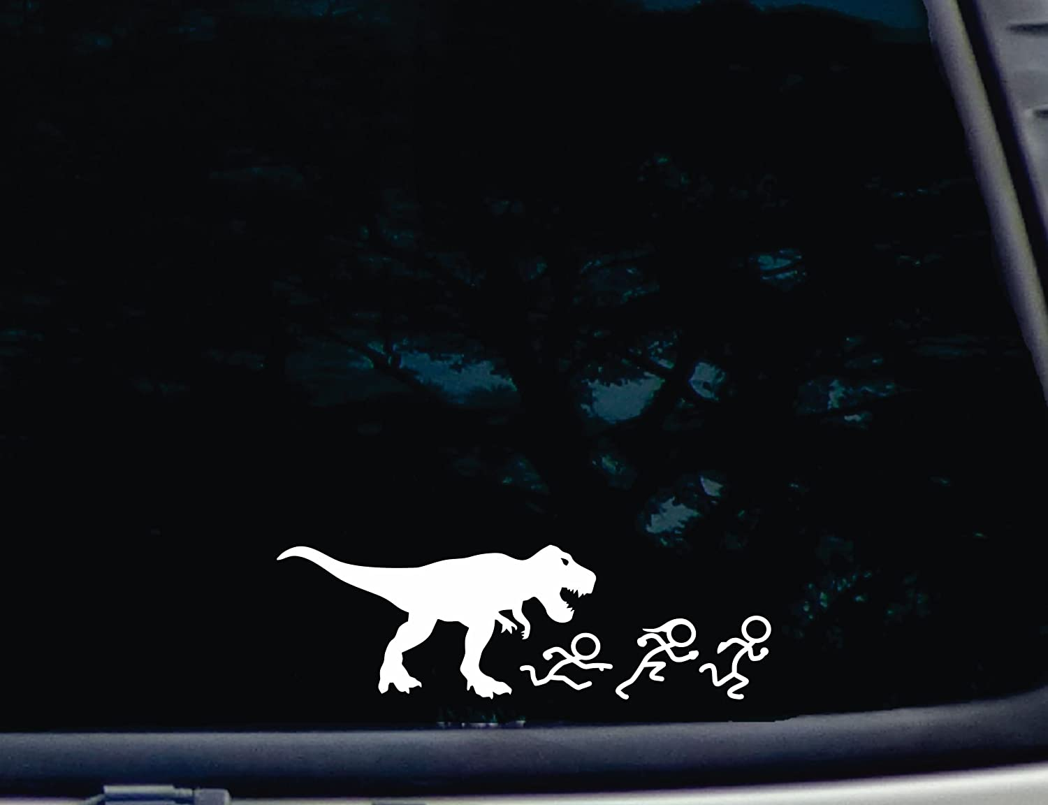 Amazoncom TRex Chasing Stick Figure Family X Die - Vinyl decals for your caramazoncom your stick family was delicious trex vinyl decal