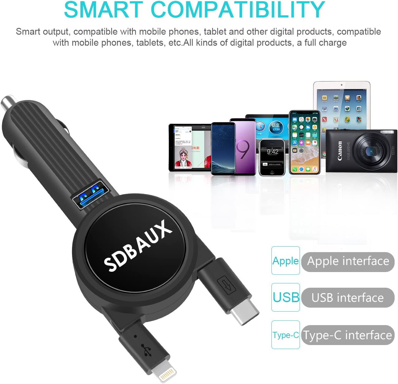 Car Charger, Fast Charging 3.1A15W, with 2.3FT Dual Retractable Cable and Blue LED USB Port Adapter. Compatible with Phone Xs Max XR X 8 7, Samsung