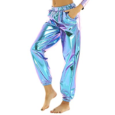 ACSUSS Women's Shiny Holographic High Waist Stretchy Long Jogger Pants for Hip Hop Streetwear at Women's Clothing store