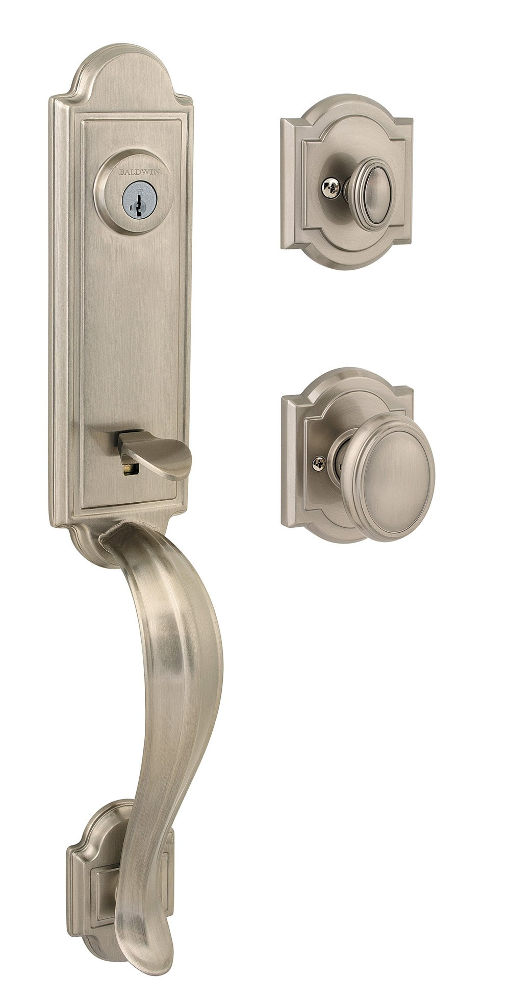 Baldwin Prestige  Avendale Single Cylinder Handleset with Carnaby Knob featuring SmartKey in Satin Nickel