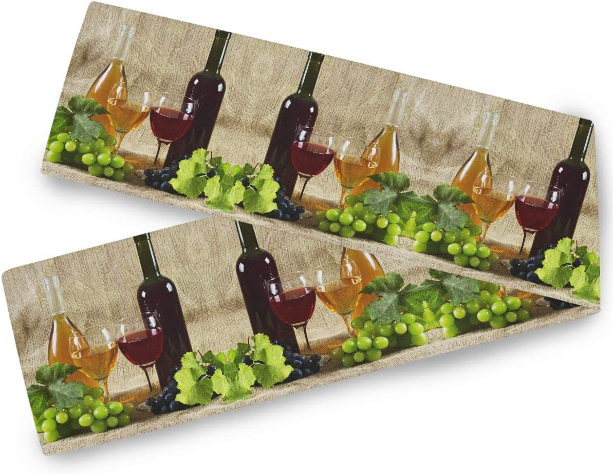 Oarencol Red White Wine Glasses Grape Vintage Table Runner 13x70 inch Double Sided, Polyester Rectangle Table Cloth for Wedding Kitchen Party Dining Home Decor