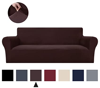 Binztec 1-Pieces Sofa Cover Knitted Jacquard Spandex Sofa Slipcover Stay in Place Super Rich Furniture Cover/Protector, Skid Resistance (Chocolate, XL ...