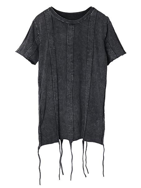Aivtalk - Camiseta Mujer Punk Top Mangas Cortas Ropa Verano Suelta Impresión con Borla Irregular Estilo Rock Vintage - Negro - Tamaño Libre: Amazon.es: Ropa ...