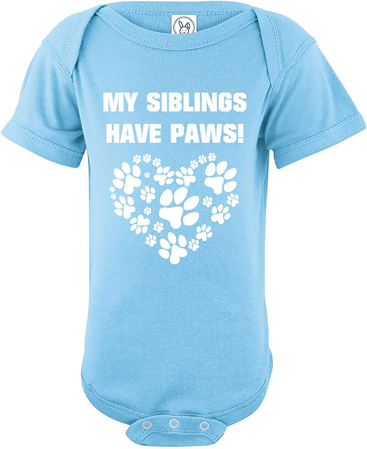 My Siblings Have Paws - Funny Newborn Unisex Baby Cotton Bodysuit - Infant One-Piece Romper Outfit