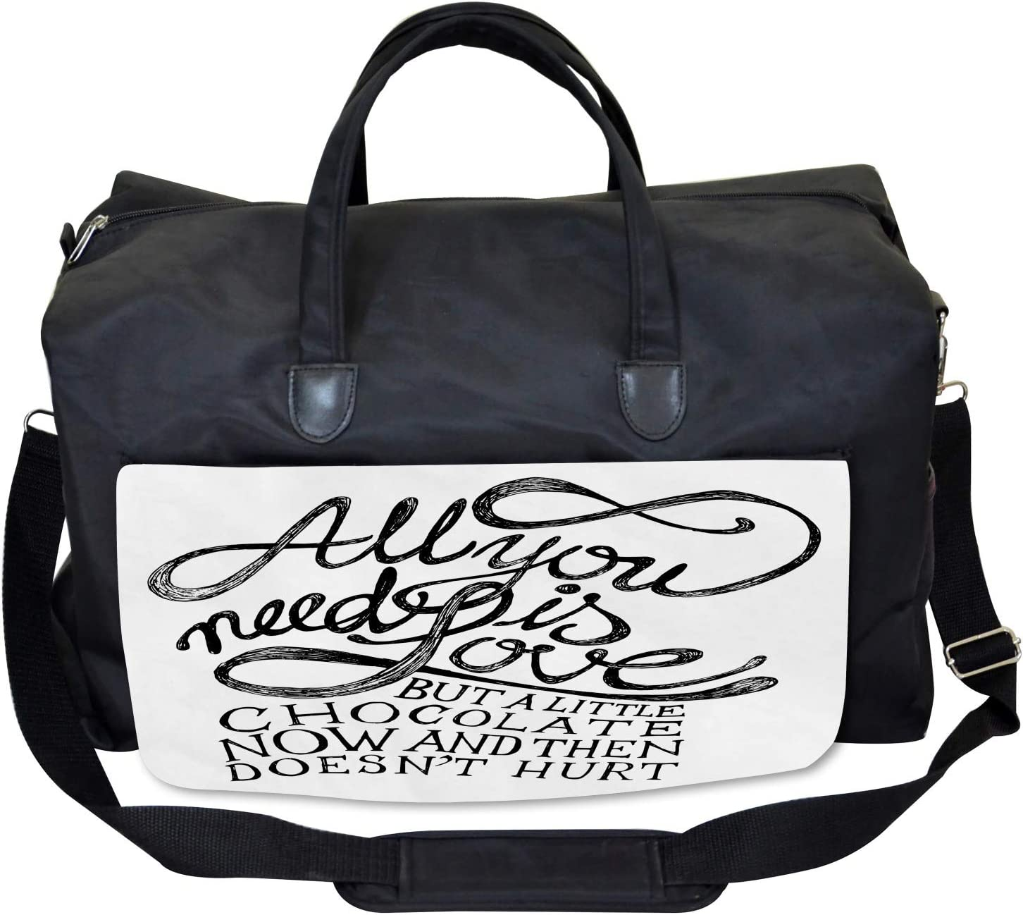 Motivational Quotes Ambesonne Black White Gym Bag Large Weekender Carry-on