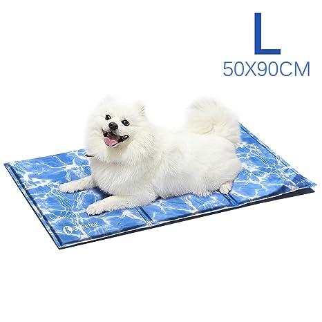 GoPetee Alfombrilla de Refrigeración para Mascotas Cama de Perro y Gato para Verano Animales Manta de Dormir Fresco Cojín (L 90 x 50 cm, Ondulación)