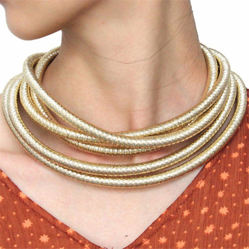 FANCY LOVE Newes Double Rope Maxi Colar Choker Necklace or Bracelet with Maganetic Lock (Gold necklace) by FANCY LOVE BOUTIQUE (Image #2)