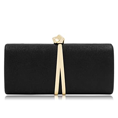 Women Clutches Solid Evening Bag Sparkling Metallic Clutch Purses For  Wedding And Party (Black) 1a690f838a37