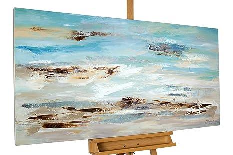 Kunstloft® Cuadro en acrílico Oleaje al Amanecer 140x70cm   Original Pintura XXL Pintado a Mano sobre Lienzo   Abstracto Plateado Turquesa   Cuadro ...