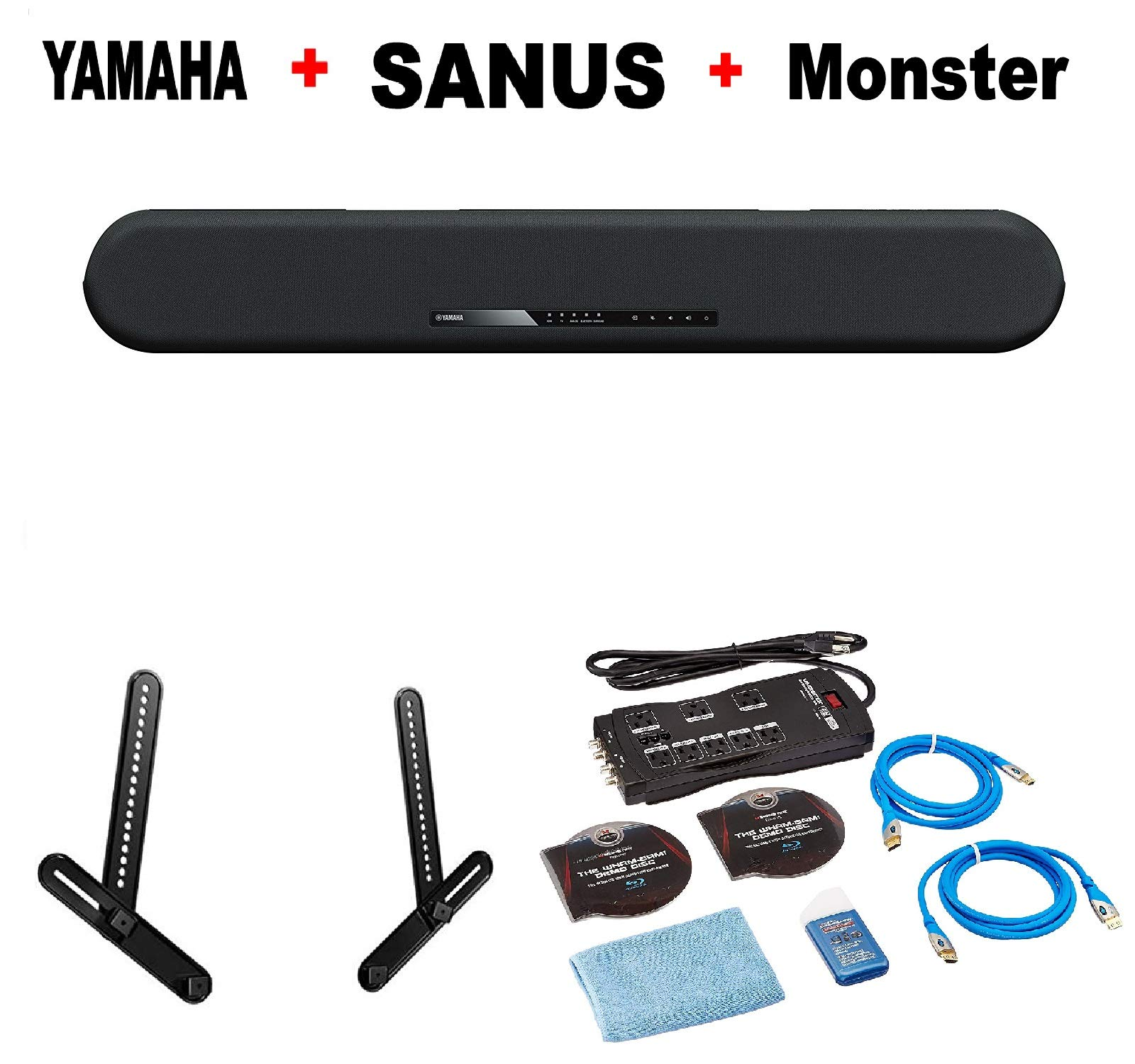 Yamaha Surround Bluetooth Soundbar Home Speaker Set of 1 B (YAS-108) + Sanus SA405-B1 Series 1 Soundbar Mount Black + Monster Home Theater Accessory Bundle Bundle by Yamaha